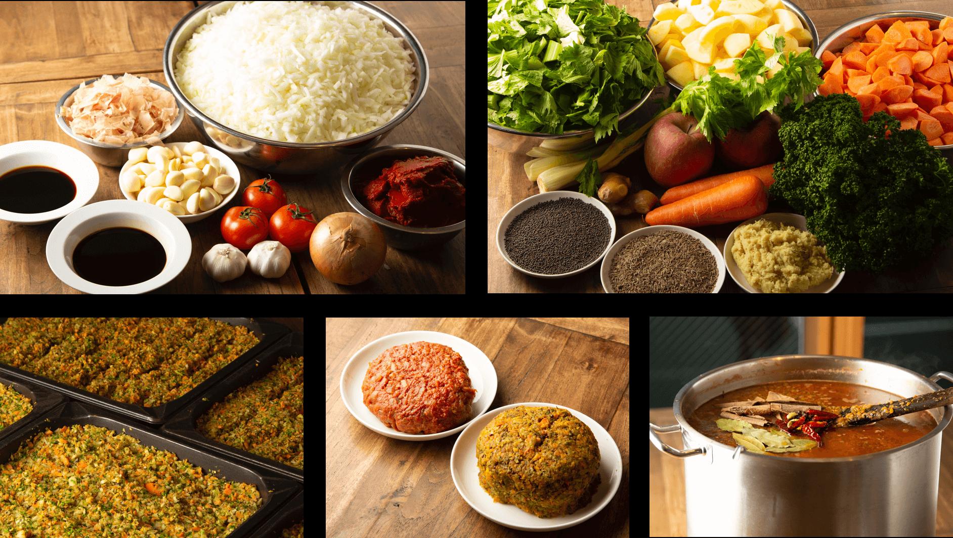 金澤ななほしカレーの特徴、赤玉と緑玉の材料をそれぞれ調理し、カレーの種類によってブレンドし大鍋で煮込む