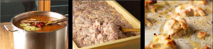 大きな寸胴で丁寧に煮込んでいきます。当店一番人気のチキンカレーのため、チキンをタレに漬け込み一晩寝かせます。チキンはひとつひとつオーブンで焼いてからカレーと合わせます。
